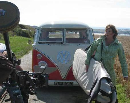 Filming Cornwall with Caroline Quentin on location with Romeo the Volkswagen Campervan
