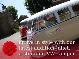 arrive in style with our latest addition-Juliet, a stunning VW camper